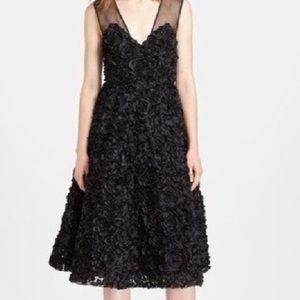 Tracey Reese Black Flower Midi Dress, Sz 8